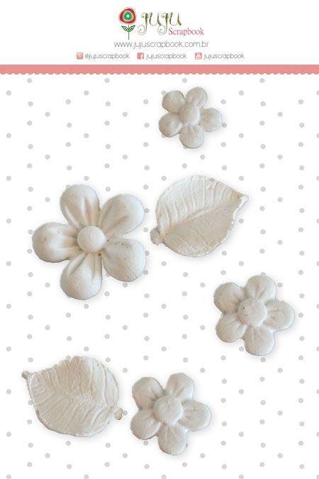 Enfeite Resina Flores - Coleção Paraíso Tropical - JuJu Scrapbook  - JuJu Scrapbook