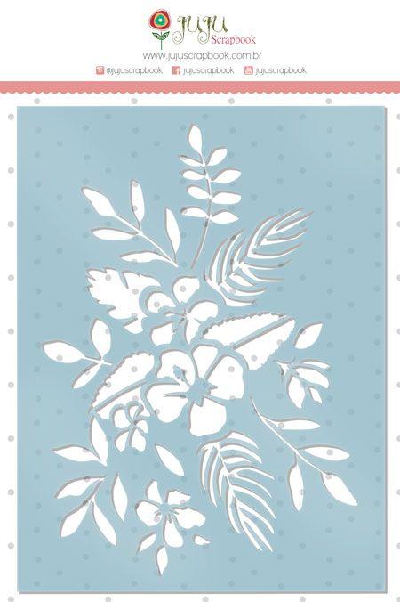 Stencil Ramo de Flores - Coleção Paraíso Tropical - JuJu Scrapbook  - JuJu Scrapbook