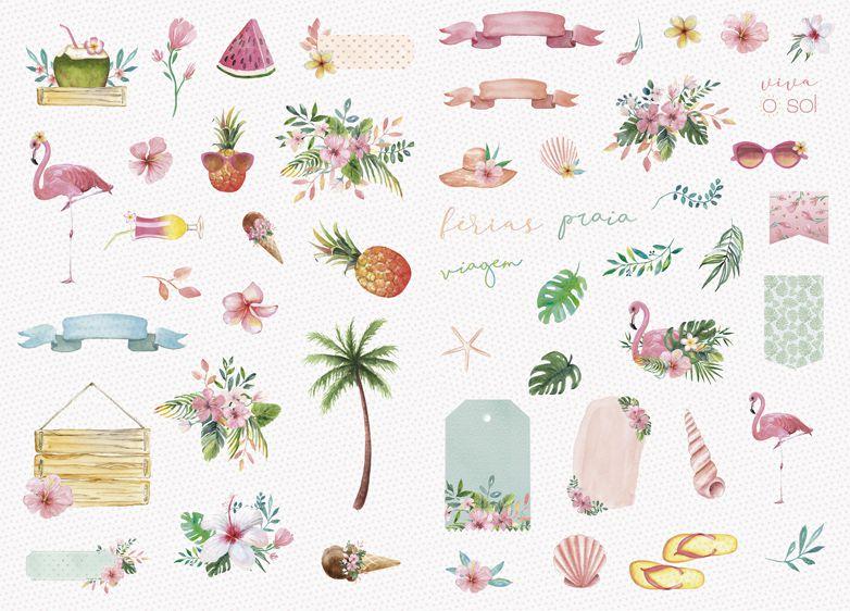 Die Cuts - Coleção Paraíso Tropical - JuJu Scrapbook  - JuJu Scrapbook