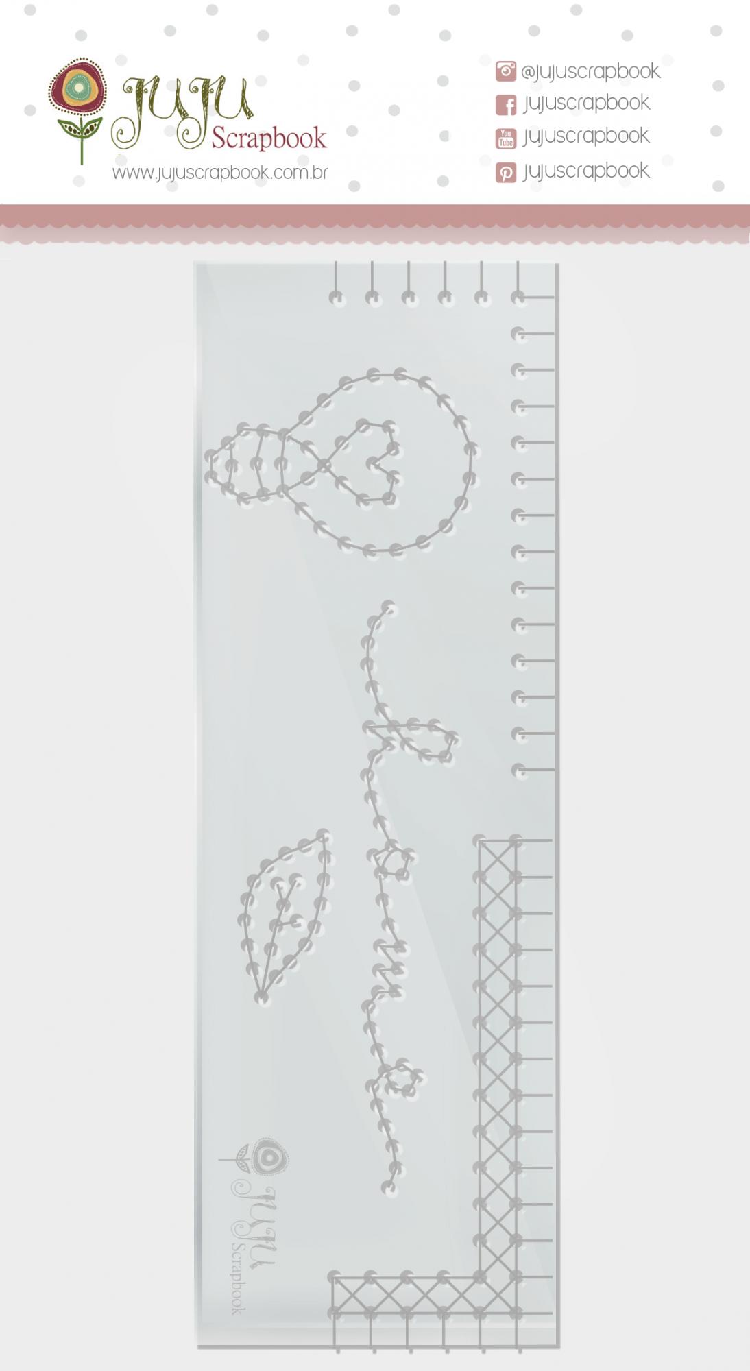 Régua de Costura Home - Coleção Quarentena Criativa - JuJu Scrapbook  - JuJu Scrapbook