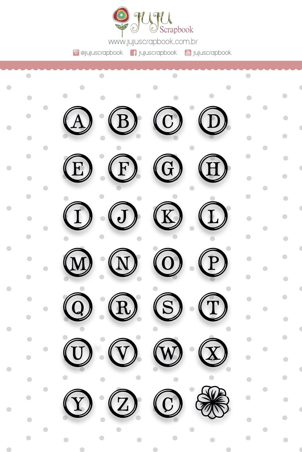 Carimbo Alfabeto Redondo - Coleção Shabby Dreams - JuJu Scrapbook  - JuJu Scrapbook