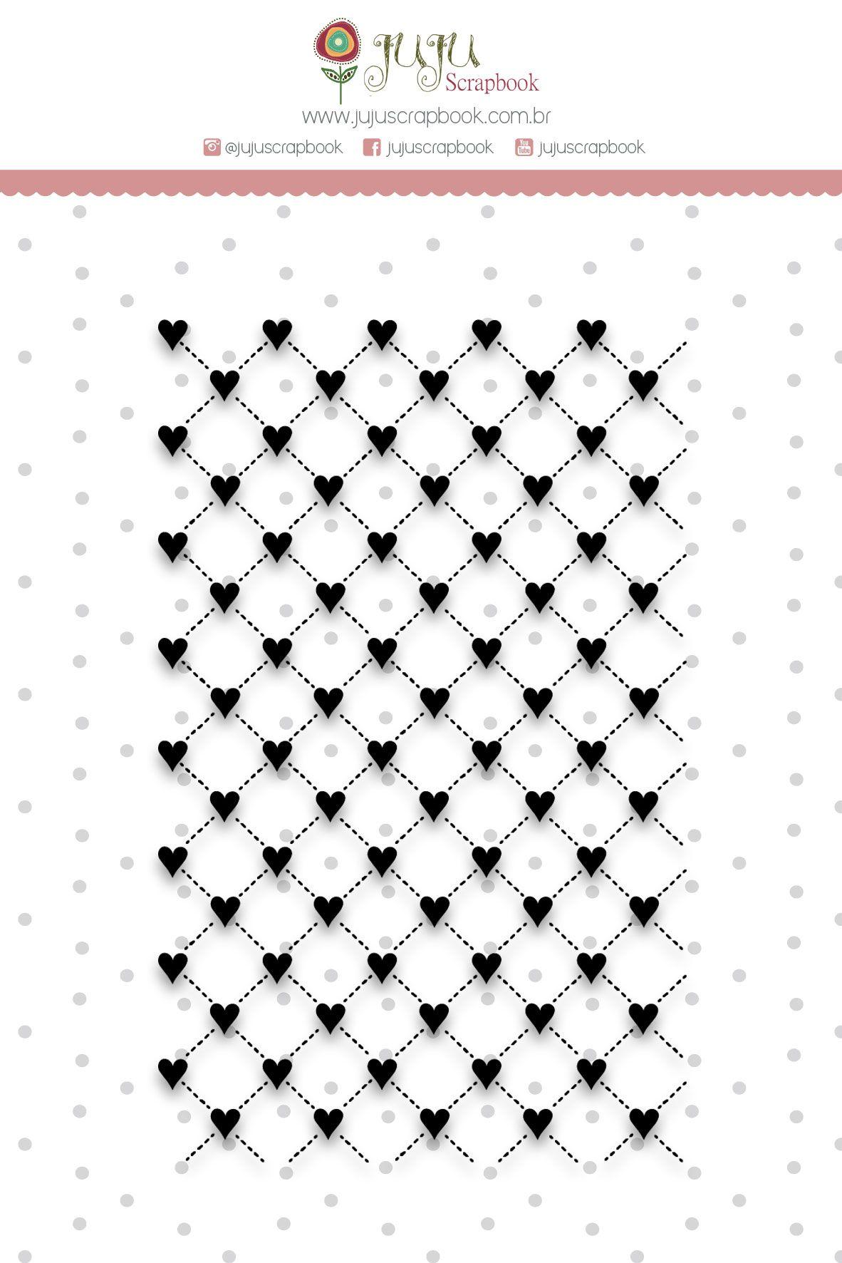 Carimbo XG Corações - Coleção Shabby Dreams - JuJu Scrapbook  - JuJu Scrapbook