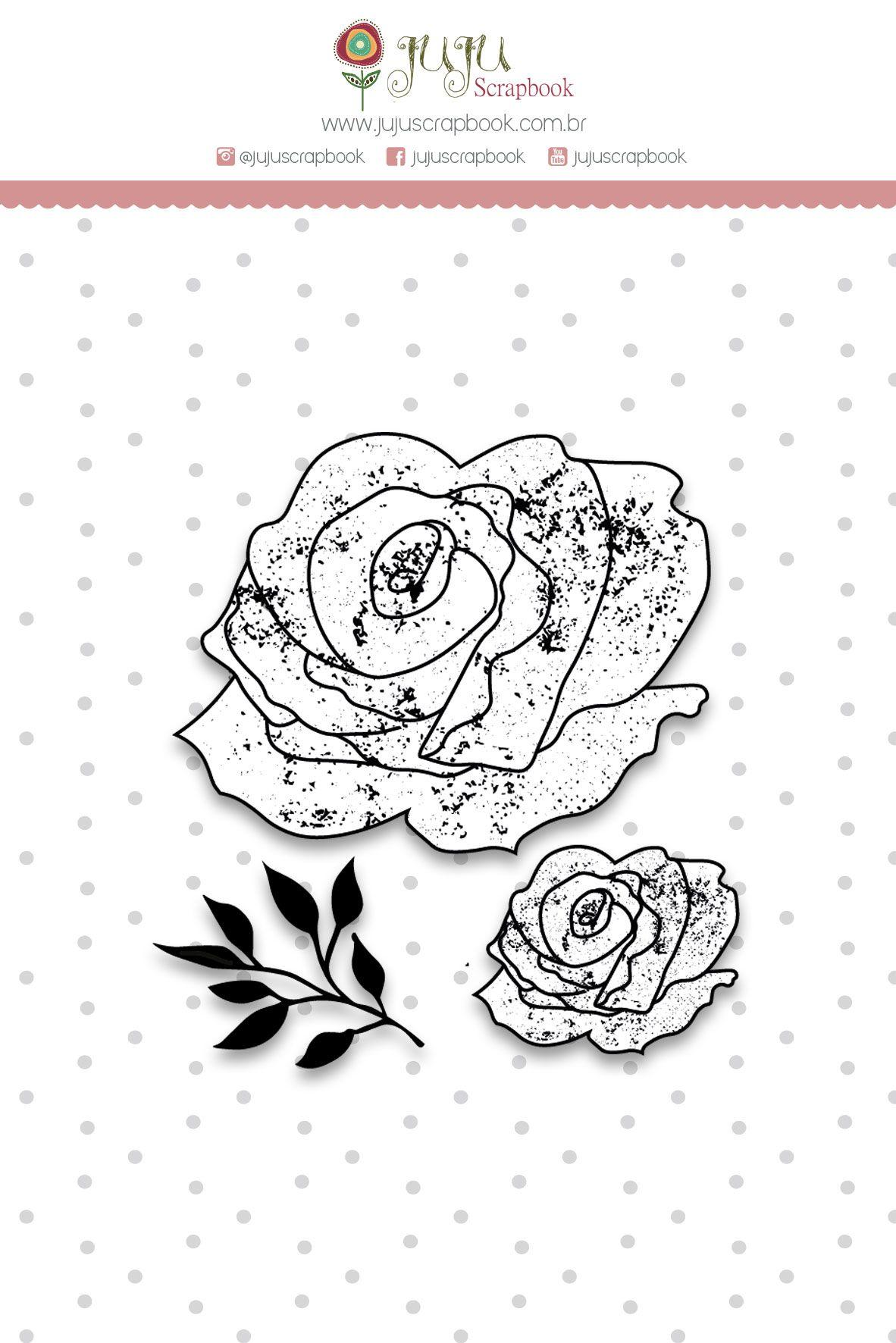 Carimbo G Rosas - Coleção Shabby Dreams - JuJu Scrapbook  - JuJu Scrapbook
