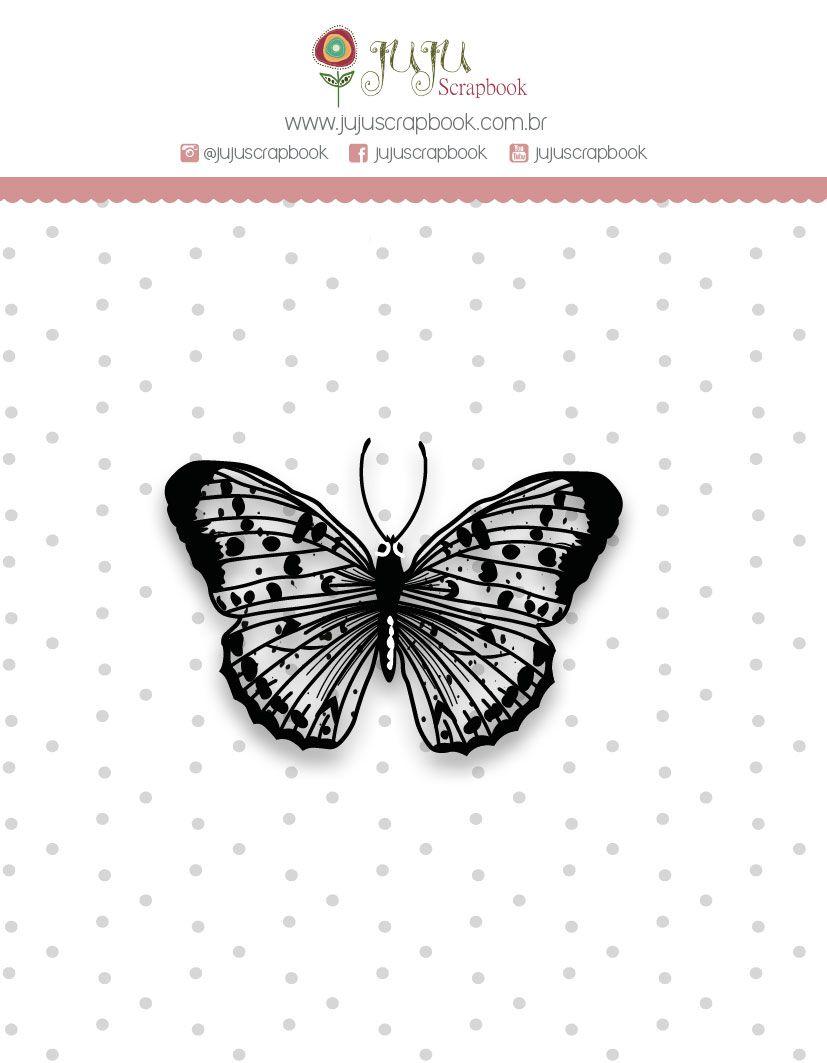 Carimbo Mini Borboleta - Coleção Shabby Dreams - JuJu Scrapbook  - JuJu Scrapbook