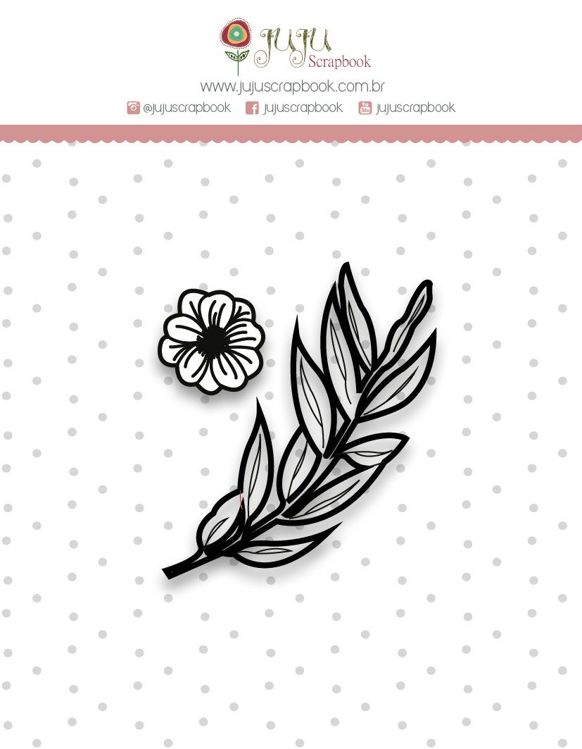 Carimbo Mini Folhinhas - Coleção Shabby Dreams - JuJu Scrapbook  - JuJu Scrapbook