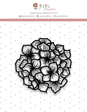 Carimbo Mini Hortência - Coleção Shabby Dreams - JuJu Scrapbook  - JuJu Scrapbook