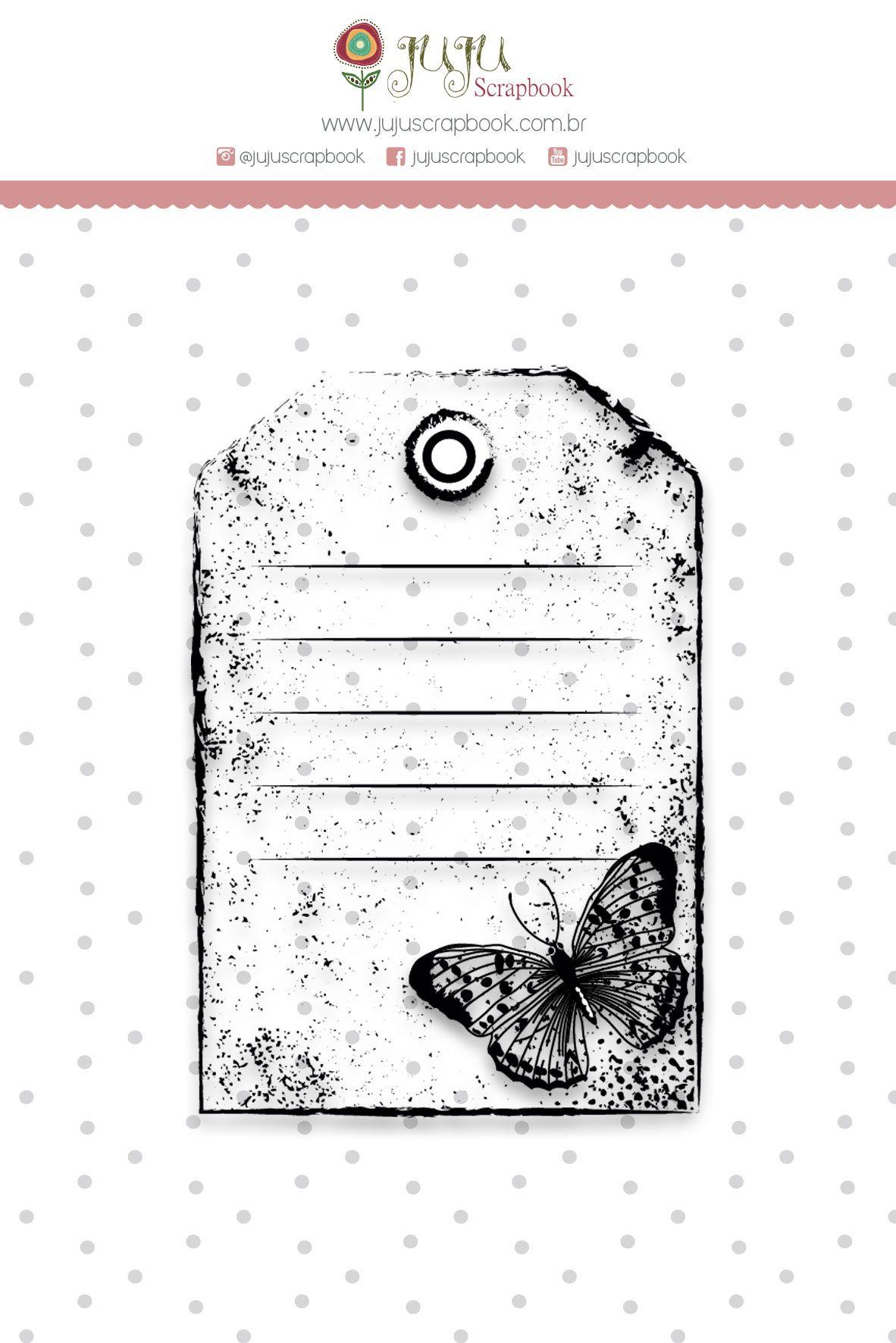 Carimbo G Tag Borboleta - Coleção Shabby Dreams - JuJu Scrapbook  - JuJu Scrapbook
