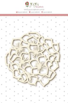 Enfeite Chipboard Branco Hortência - Coleção Shabby Dreams - JuJu Scrapbook  - JuJu Scrapbook