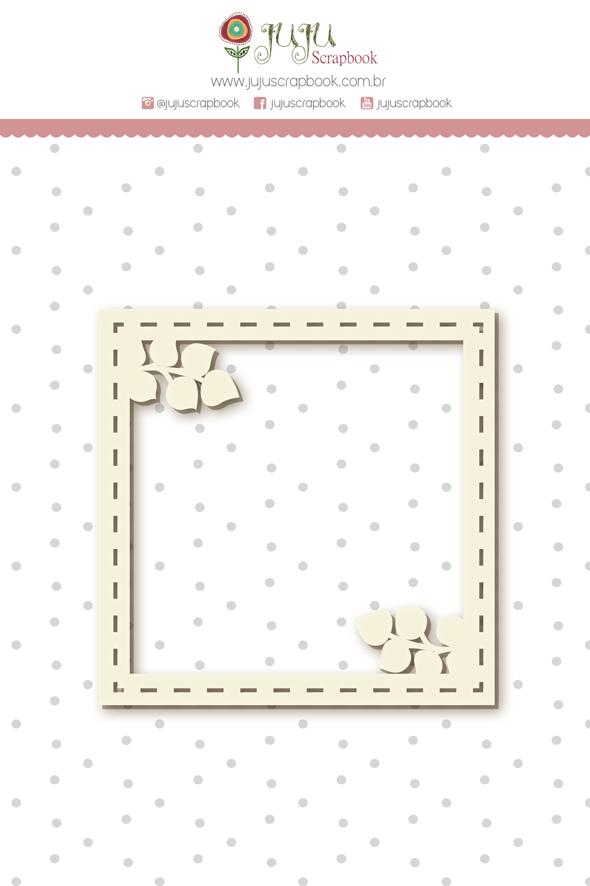 Enfeite Chipboard Branco Moldura Galhos - Coleção Shabby Dreams - JuJu Scrapbook  - JuJu Scrapbook