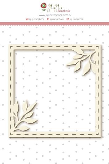 Enfeite Chipboard Branco Moldura Raminhos - Coleção Shabby Dreams - JuJu Scrapbook  - JuJu Scrapbook