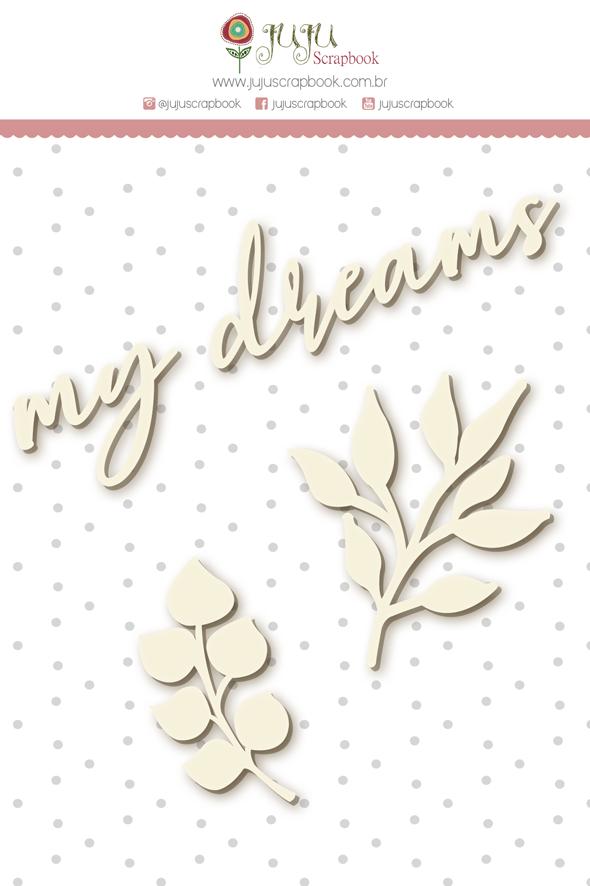 Enfeite Chipboard Branco My Dreams - Coleção Shabby Dreams - JuJu Scrapbook  - JuJu Scrapbook