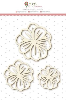 Enfeite Chipboard Branco Trio de Flores Vazado - Coleção Shabby Dreams - JuJu Scrapbook  - JuJu Scrapbook