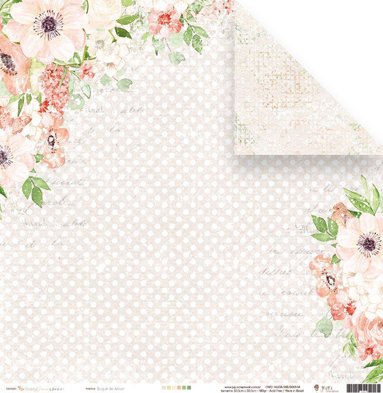 Papel Buquê de Amor - Coleção Shabby Dreams - JuJu Scrapbook  - JuJu Scrapbook