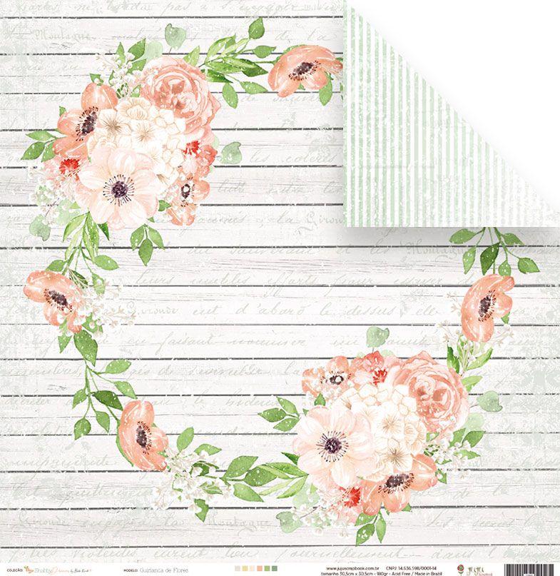 Papel Guirlanda de Flores - Coleção Shabby Dreams - JuJu Scrapbook  - JuJu Scrapbook