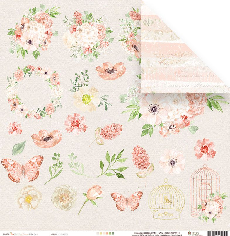 Papel Primavera - Coleção Shabby Dreams - JuJu Scrapbook  - JuJu Scrapbook