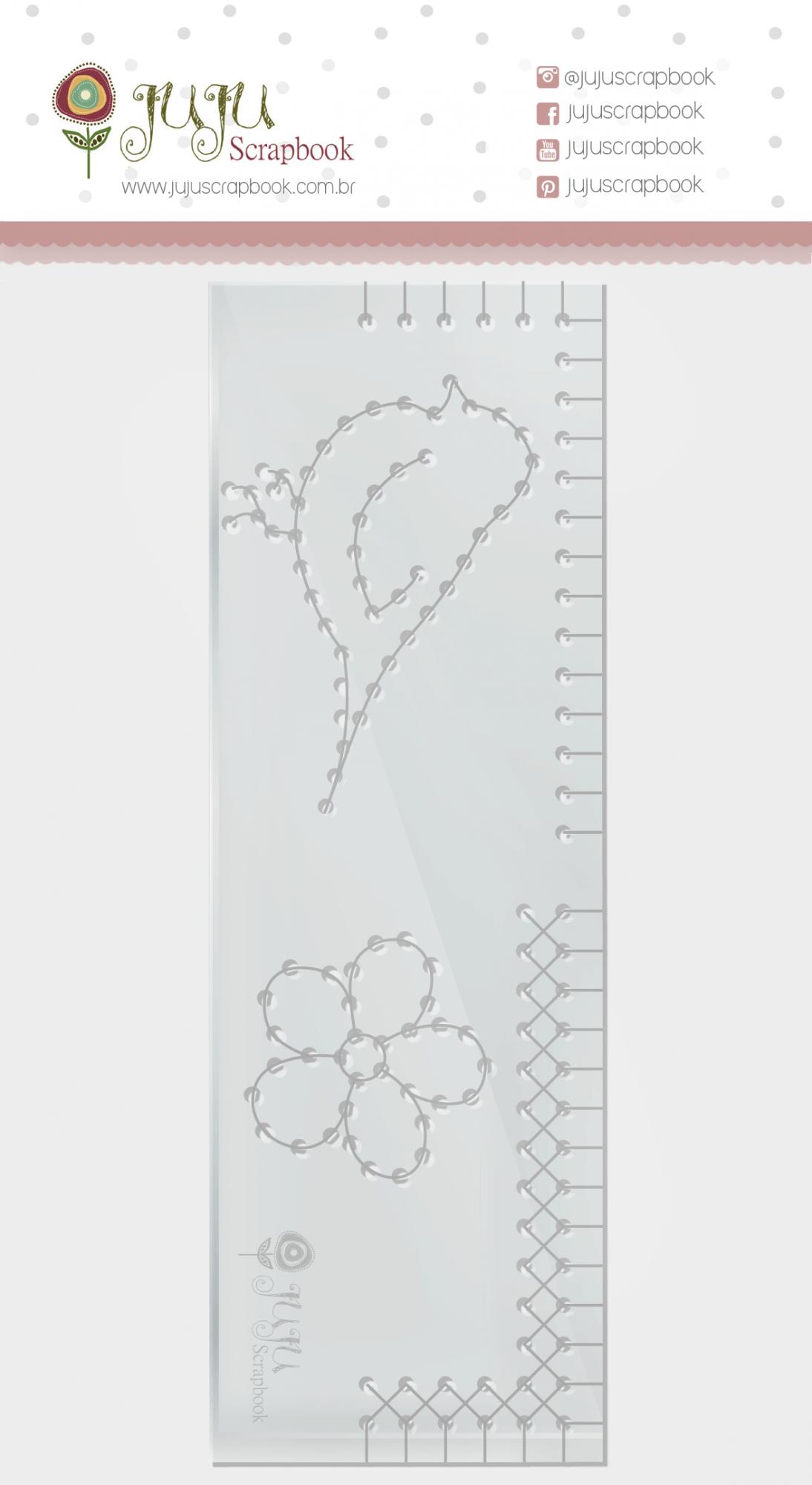 Régua de Costura Passarinho - Coleção Shabby Dreams - JuJu Scrapbook  - JuJu Scrapbook