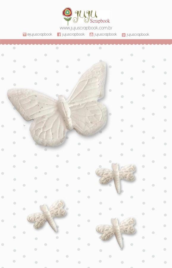 Enfeite Resina Borboleta - Coleção Shabby Dreams - JuJu Scrapbook  - JuJu Scrapbook