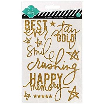 Enfeite Adesivo Glitter Dourado - Heidi Swapp  - JuJu Scrapbook