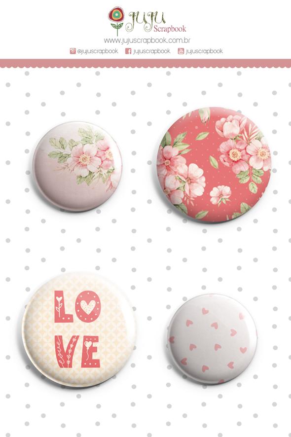 Enfeite Bottons Chuva de Amor - Coleção Cartas para Você - JuJu Scrapbook  - JuJu Scrapbook