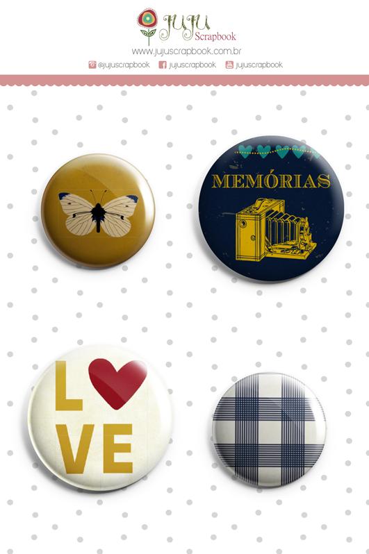 Enfeite Bottons Memórias - Coleção Família para Sempre - JuJu Scrapbook  - JuJu Scrapbook