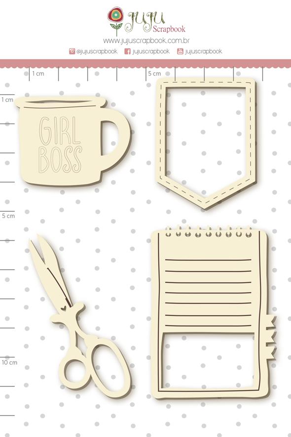 Enfeite Chipboard Branco Caderno Criativo - Coleção Quarentena Criativa - Juju Scrapbook  - JuJu Scrapbook