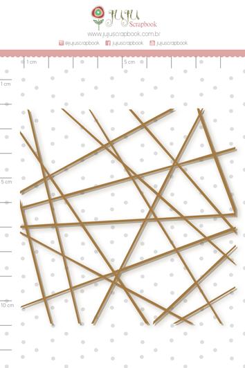 Enfeite Chipboard Adesivado Linhas - Coleção Nosso Herói - Juju Scrapbook   - JuJu Scrapbook