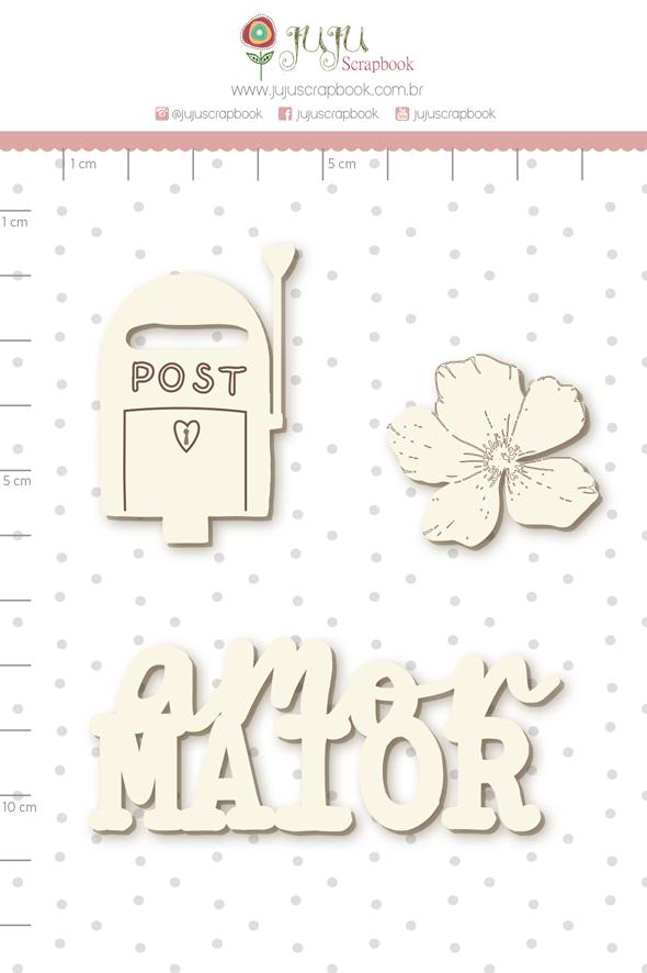 Enfeite Chipboard Branco Amor Maior - Coleção Cartas para Você - Juju Scrapbook   - JuJu Scrapbook