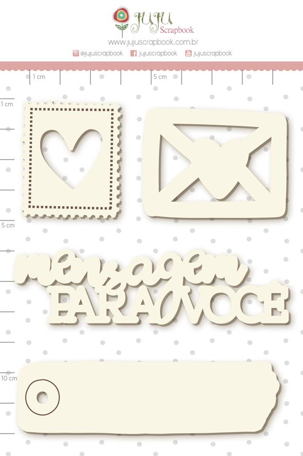 Enfeite Chipboard Branco Cartinha de Amor  - Coleção Cartas para Você - Juju Scrapbook   - JuJu Scrapbook
