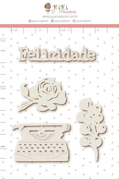 Enfeite Chipboard Branco  Escrevendo a Felicidade - Coleção Sonho Meu - JuJu Scrapbook  - JuJu Scrapbook