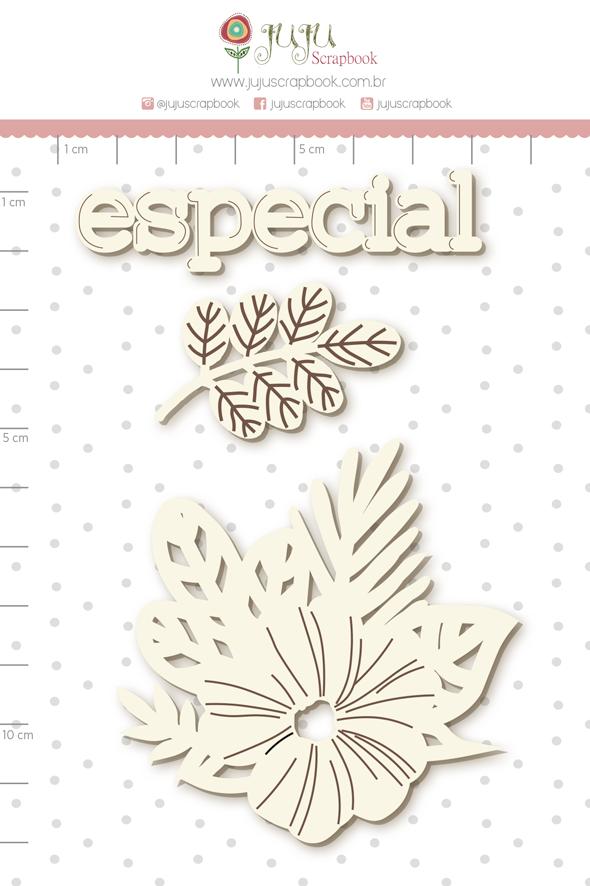 Enfeite Chipboard Branco Flores para Você - Coleção Cartas para Você - Juju Scrapbook   - JuJu Scrapbook
