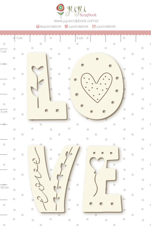 Enfeite Chipboard Branco Love  - Coleção Cartas para Você - Juju Scrapbook   - JuJu Scrapbook