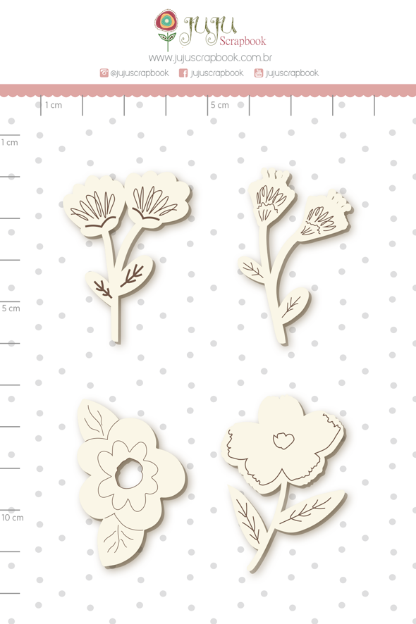 Enfeite Chipboard Branco Minhas Flores - Coleção Espalhando Amor - Juju Scrapbook   - JuJu Scrapbook