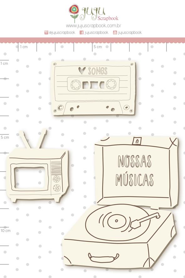 Enfeite Chipboard Branco Nossas Músicas - Coleção Espalhando Amor - Juju Scrapbook   - JuJu Scrapbook