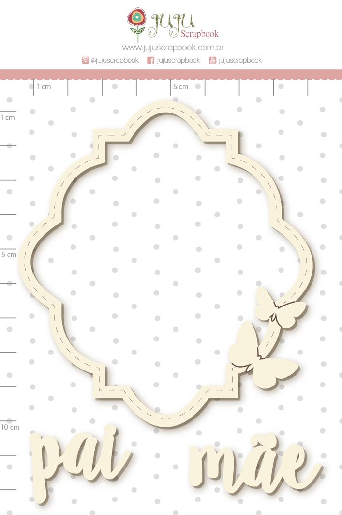 Enfeite Chipboard Branco Pai e Mãe - Juju Scrapbook   - JuJu Scrapbook
