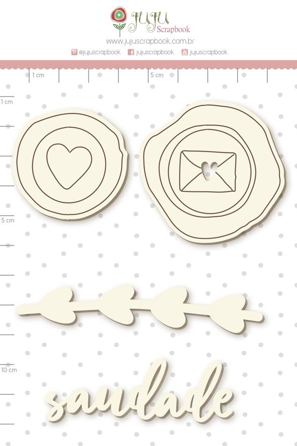 Enfeite Chipboard Branco Saudade  - Coleção Cartas para Você - Juju Scrapbook   - JuJu Scrapbook