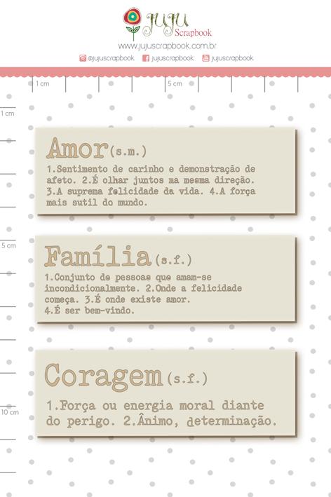 Enfeite Chipboard Off-white Amor, Família e Coragem  - Coleção Sonho Meu - Juju Scrapbook  - JuJu Scrapbook