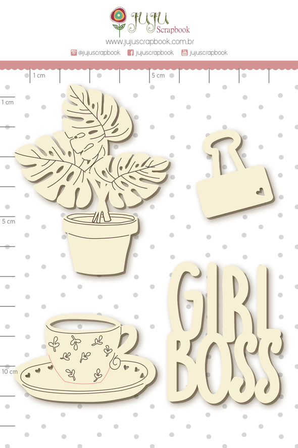 Enfeite Chipboard Branco Girl Boss - Coleção Quarentena Criativa - Juju Scrapbook  - JuJu Scrapbook