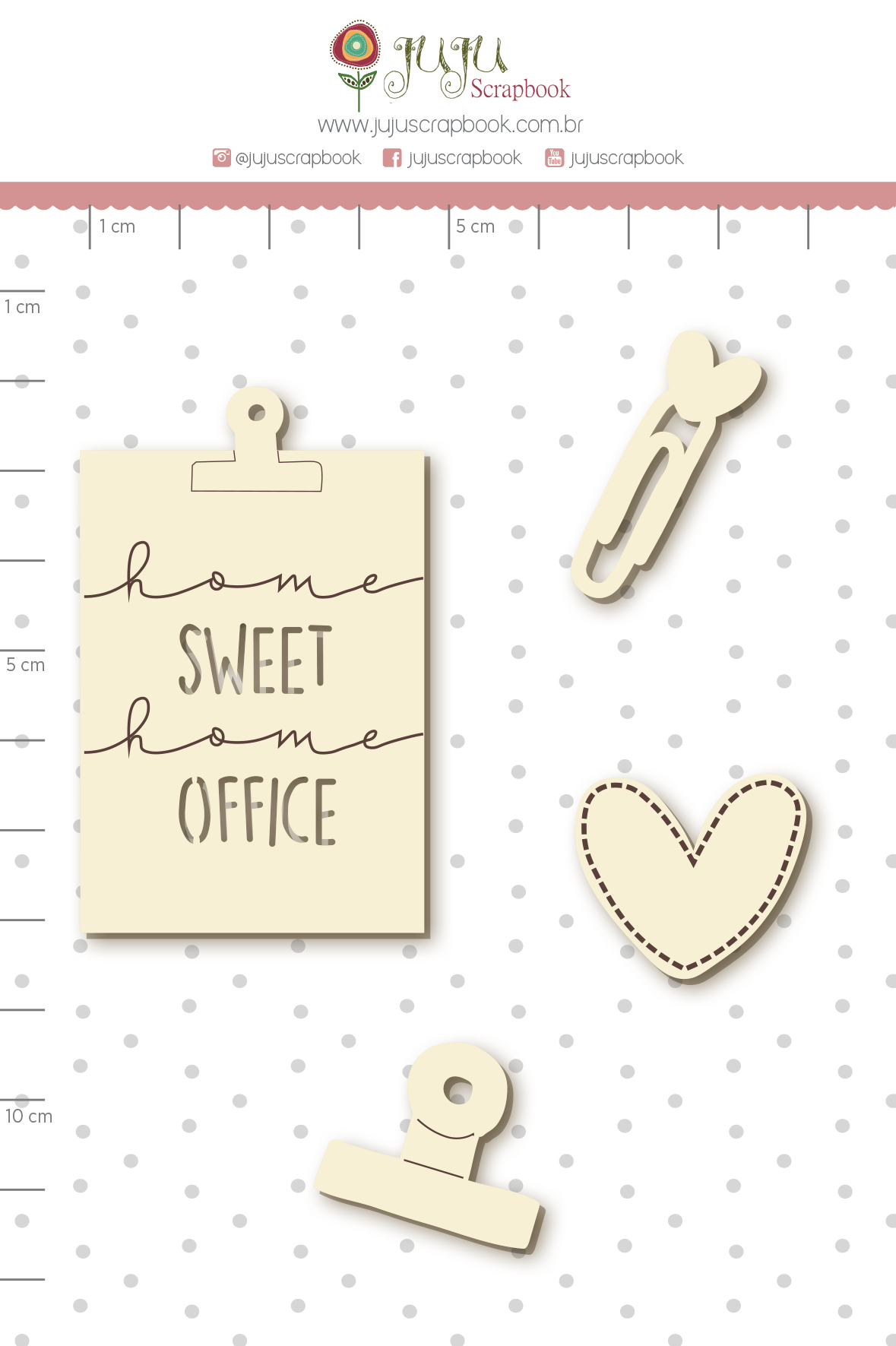Enfeite Chipboard Branco Home Sweet Home Office - Coleção Quarentena Criativa - Juju Scrapbook  - JuJu Scrapbook