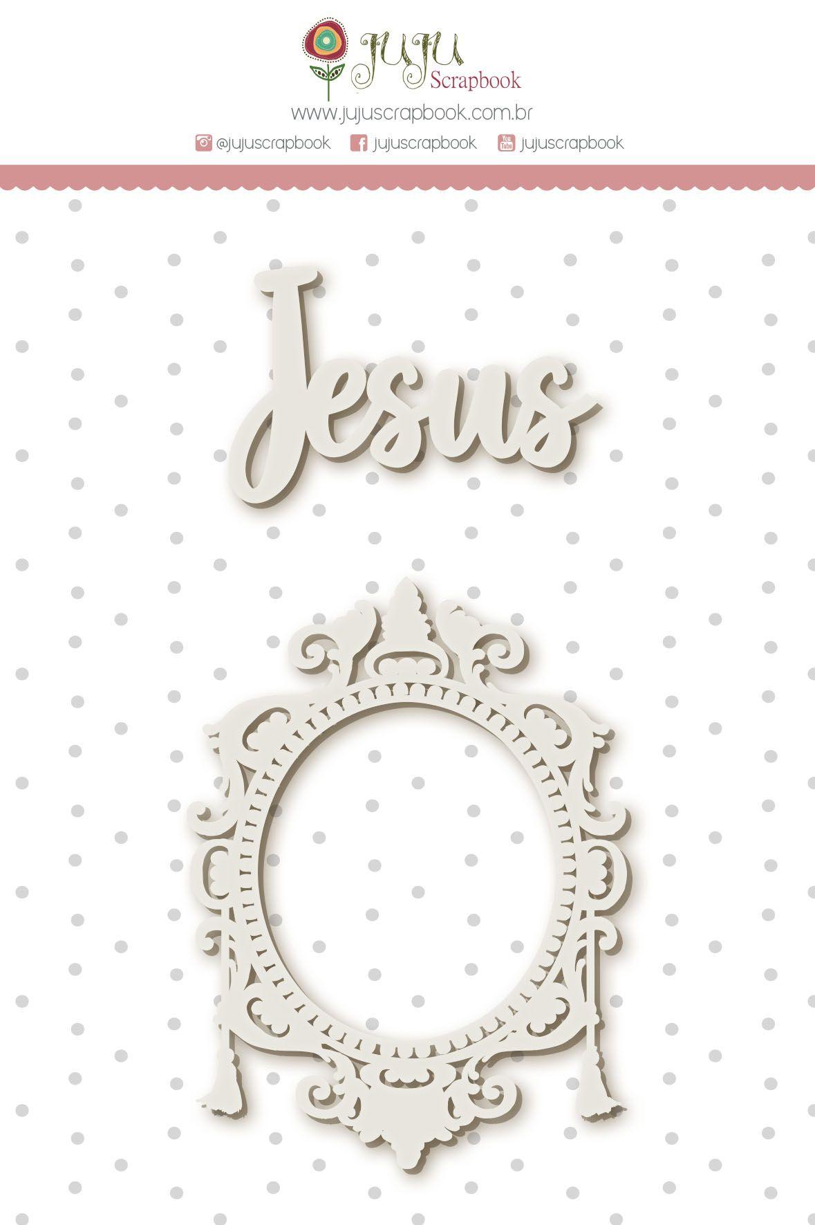Enfeite Chipboard Branco Jesus - Coleção Vai com Fé - JuJu Scrapbook  - JuJu Scrapbook