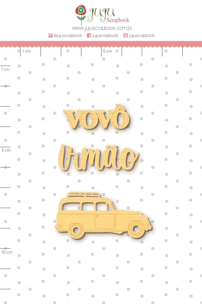 Enfeite Madeirinha Adesivada Vovô - Coleção Nosso Herói - Juju Scrapbook  - JuJu Scrapbook