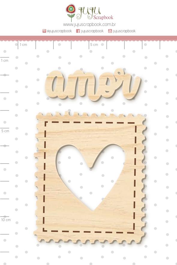 Enfeite Pinus Selo do Amor  - Coleção Cartas para Você - Juju Scrapbook  - JuJu Scrapbook