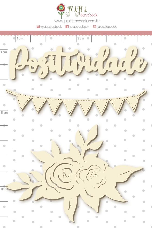 Enfeite Chipboard Branco Positividade - Coleção Quarentena Criativa - Juju Scrapbook  - JuJu Scrapbook