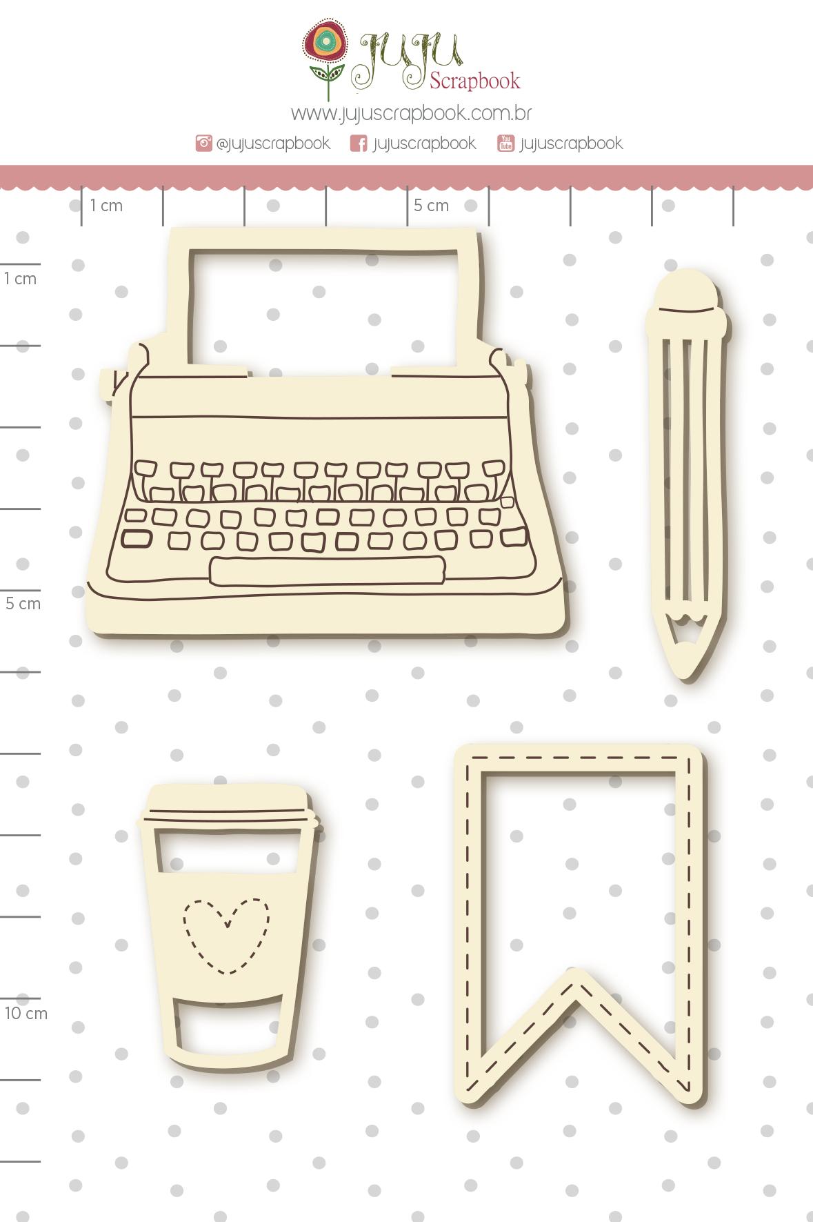 Enfeite Chipboard Branco Recadinhos - Coleção Quarentena Criativa - Juju Scrapbook  - JuJu Scrapbook