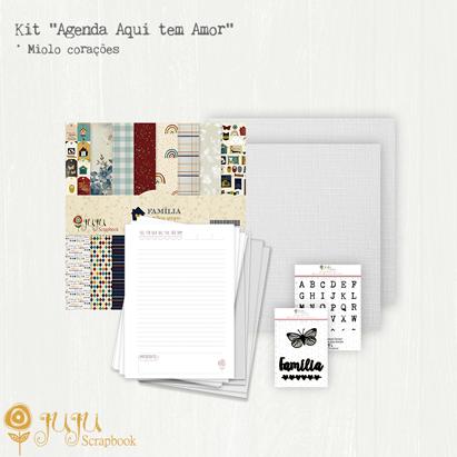 "Kit ""Agenda Aqui tem Amor"" - Miolo de Corações  - JuJu Scrapbook"