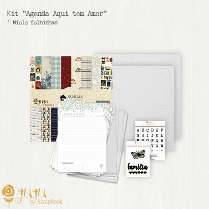 """Kit """"Agenda Aqui tem Amor"""" - Miolo de Folhinhas  - JuJu Scrapbook"""