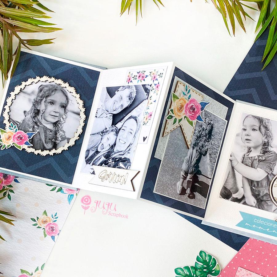 Kit Aula Mini Álbum Meu Mundo - Juju Scrapbook  - JuJu Scrapbook