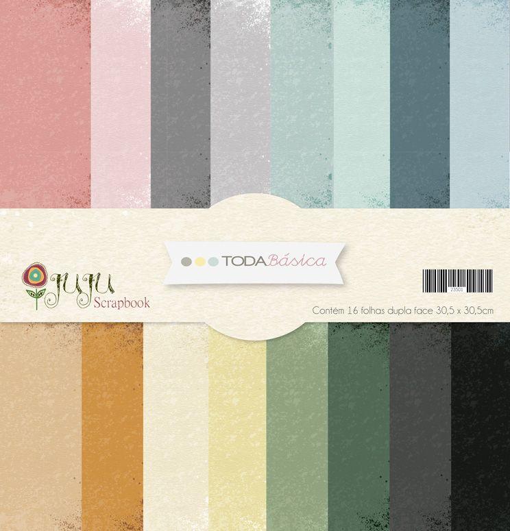 Kit Coordenado 16 papéis - Coleção Toda Básica - JuJu Scrapbook  - JuJu Scrapbook