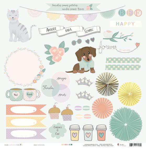 Kit Coordenado - Coleção Amizade é Tudo - JuJu Scrapbook  - JuJu Scrapbook