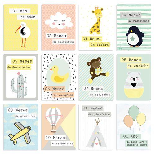 Cards 1 Ano de Amor Tamanho P - Coleção Meu Coração é Seu - JuJu Scrapbook  - JuJu Scrapbook