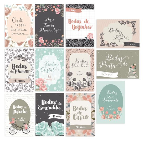 Cards Bodas de Amor G - Coleção Felizes para Sempre - JuJu Scrapbook  - JuJu Scrapbook